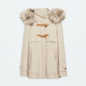 Zara Wool Duffle Coat In Beige Sz XS